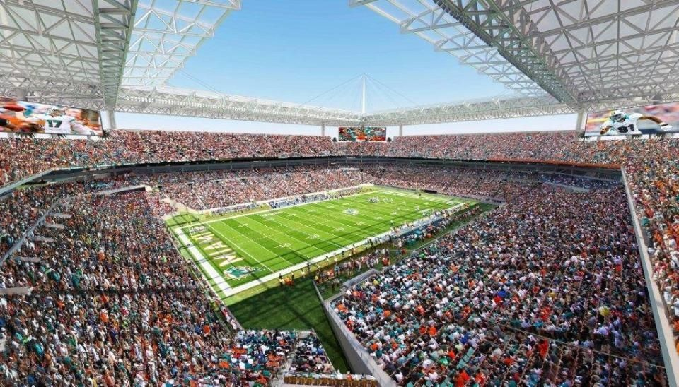 Miami Dolphins New Stadium On The Way Coverage For Sun Rain Seats Close To The Field Sun Life Stadium Dolphins Stadium Miami Dolphins
