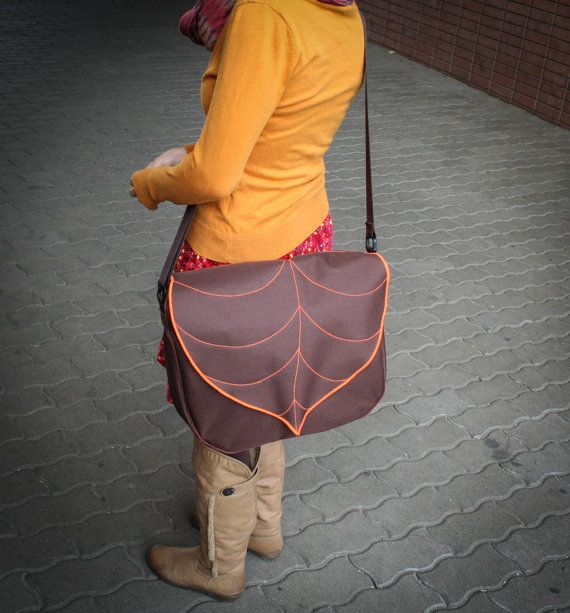 Hey, I found this really awesome Etsy listing at https://www.etsy.com/listing/164902934/brown-orange-leaf-messenger-bag-canvas