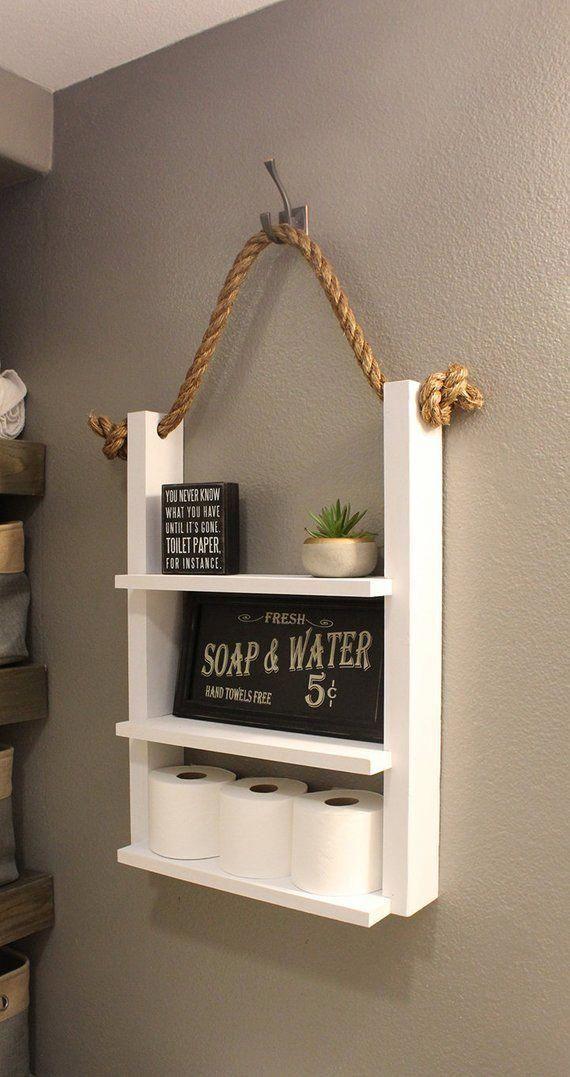 White Bathroom Farmhouse Ladder Shelf Modern Farmhouse | Etsy