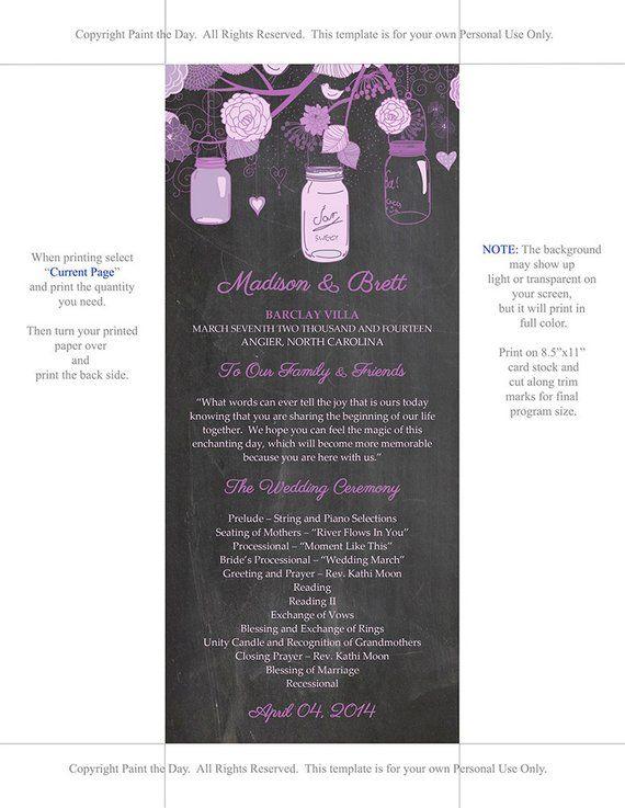 chalkboard mason jars wedding program microsoft word template purple lavender ceremony program p