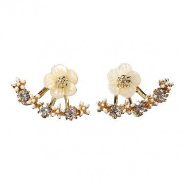 Cute Daisy Flower Crystal Ear Stud Earrings