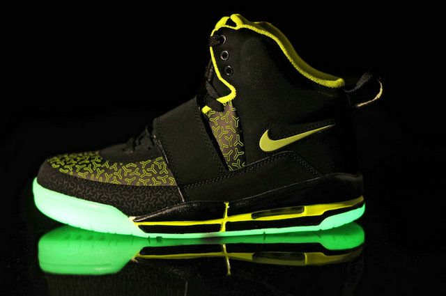 c6b1496893b29 Air Yeezy Glow In The Dark Black Green Shoes