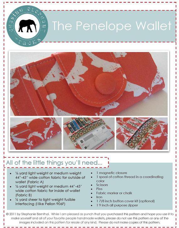 Penelope Wallet Checkbook Sewing Pattern PDF (Instant Download ...