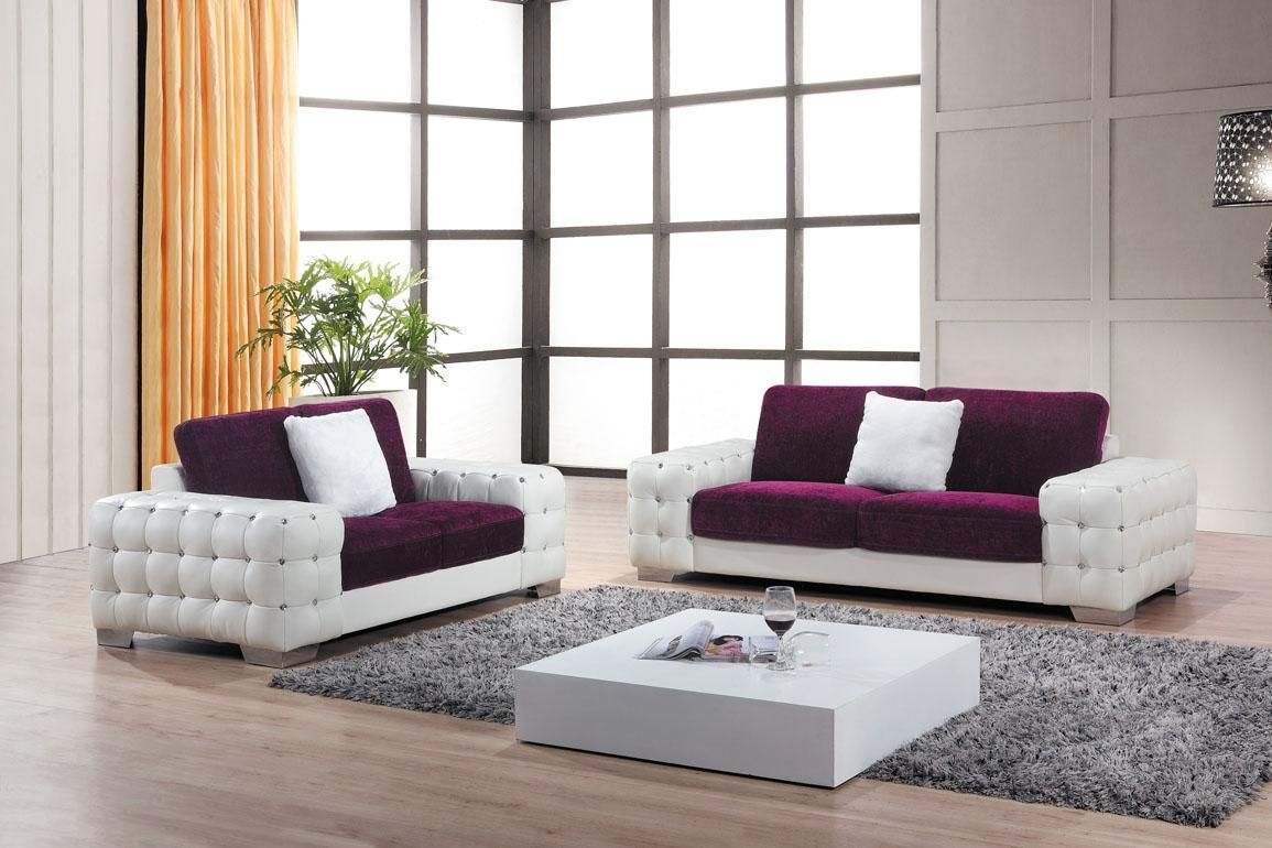 Awesome Purple White Sofa With Tufted Design Feats Low Square