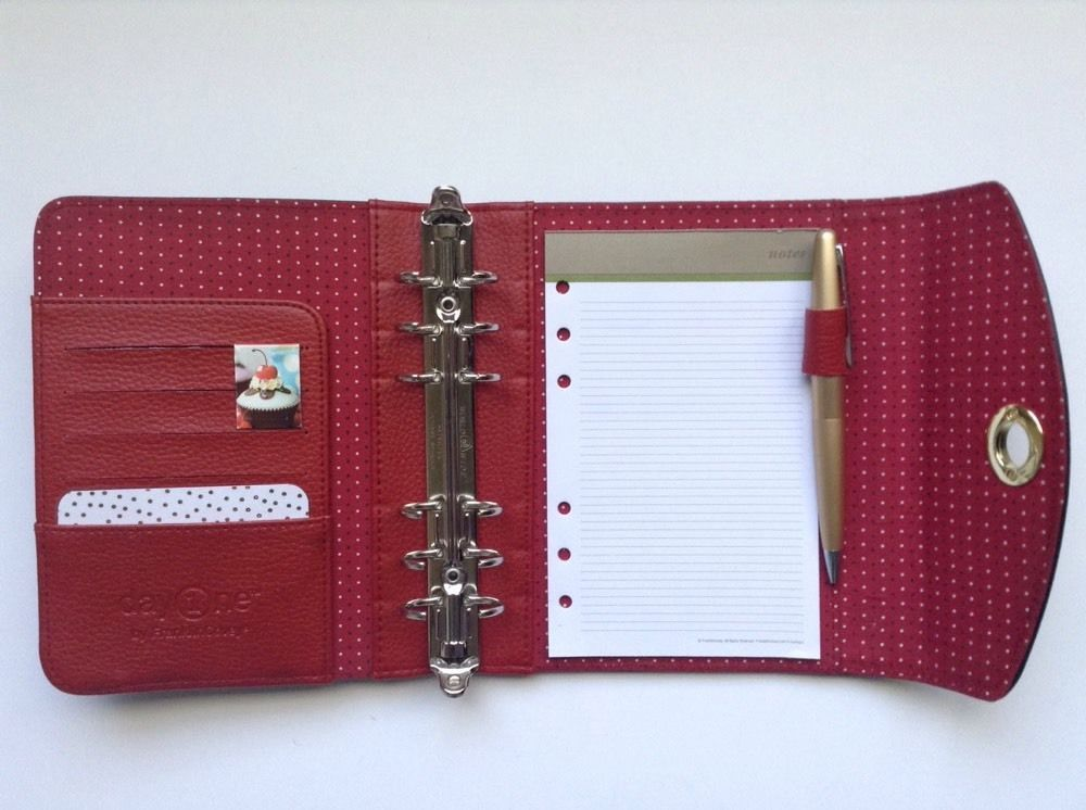 Compact Franklin Covey Planner Binder Red Interior Rare