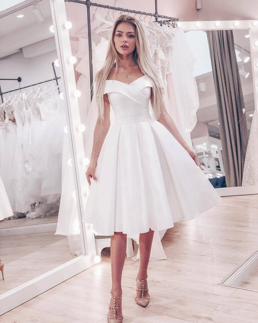 Cute A Line Off Shoulder Short White Off Shoulder White Homecoming Dresses Lv1174 On S Knee Length Wedding Dress Civil Wedding Dresses White Bridesmaid Dresses [ 1249 x 1000 Pixel ]