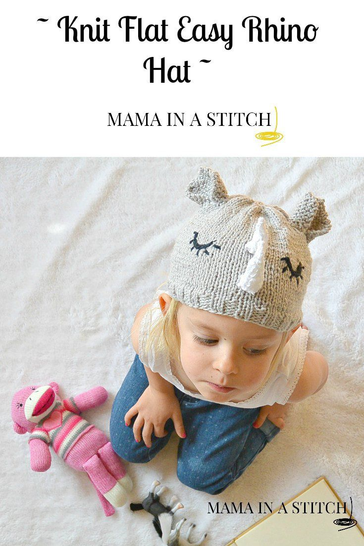 Easy, unique knit rhino toddler hat for a toddler. Free pattern from ...