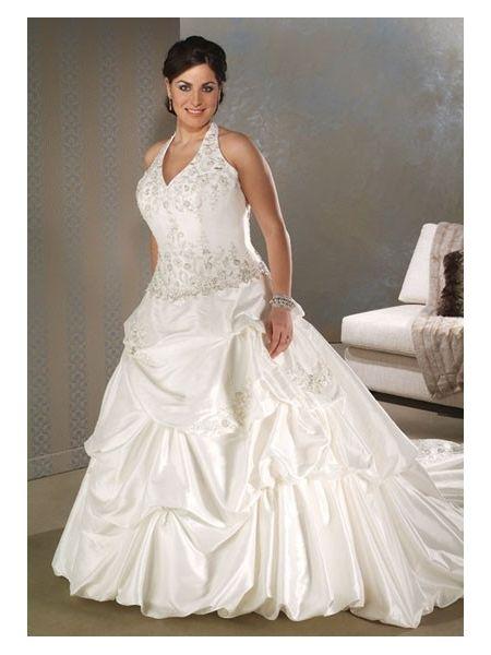 Sexy halter plus size wedding dress with straps wedding for Plus size wedding dresses with straps