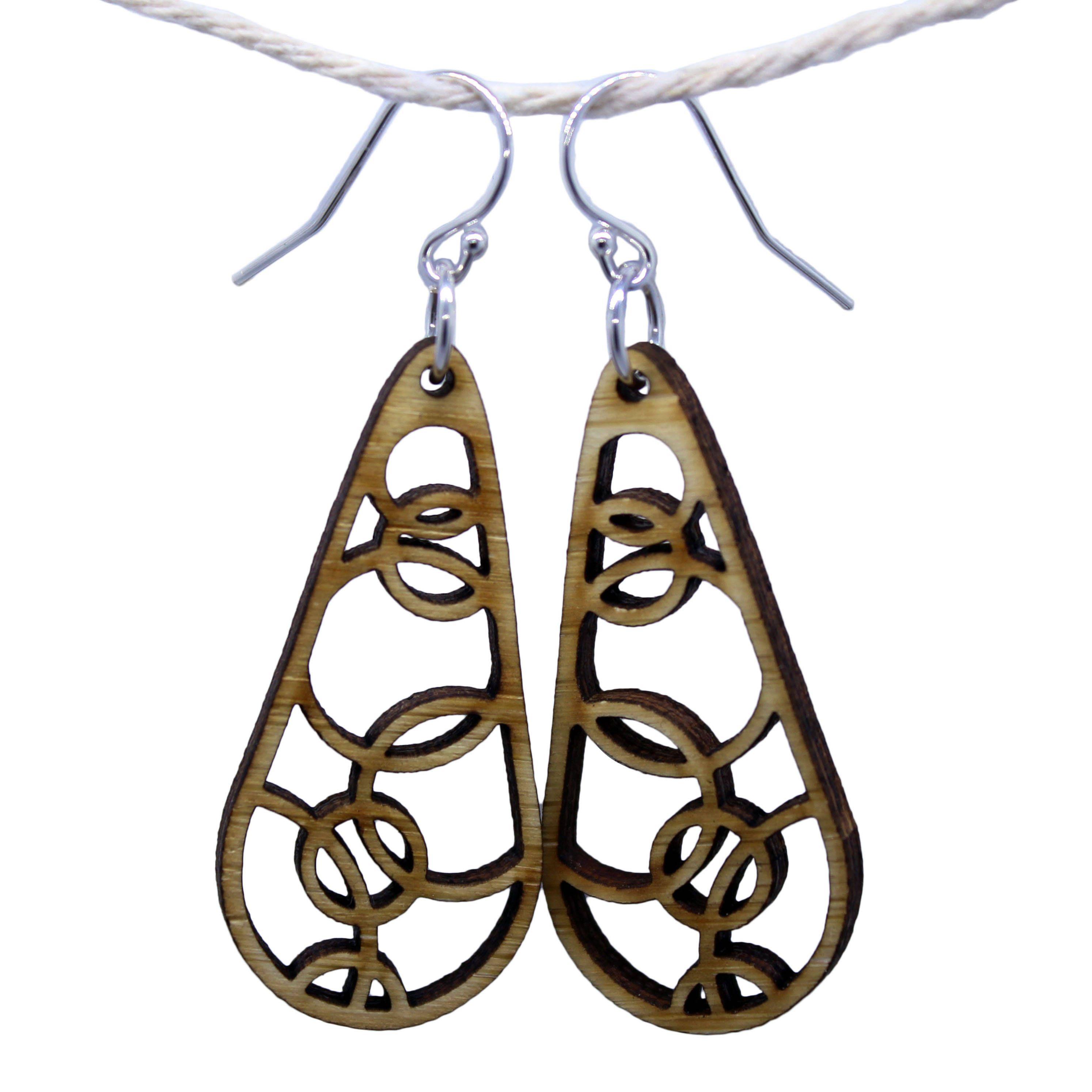 b6d593336 Perfect Gift For Girlfriend, Teardrop Earrings, Boho Earrings, Circle  Pattern, Wooden Earrings