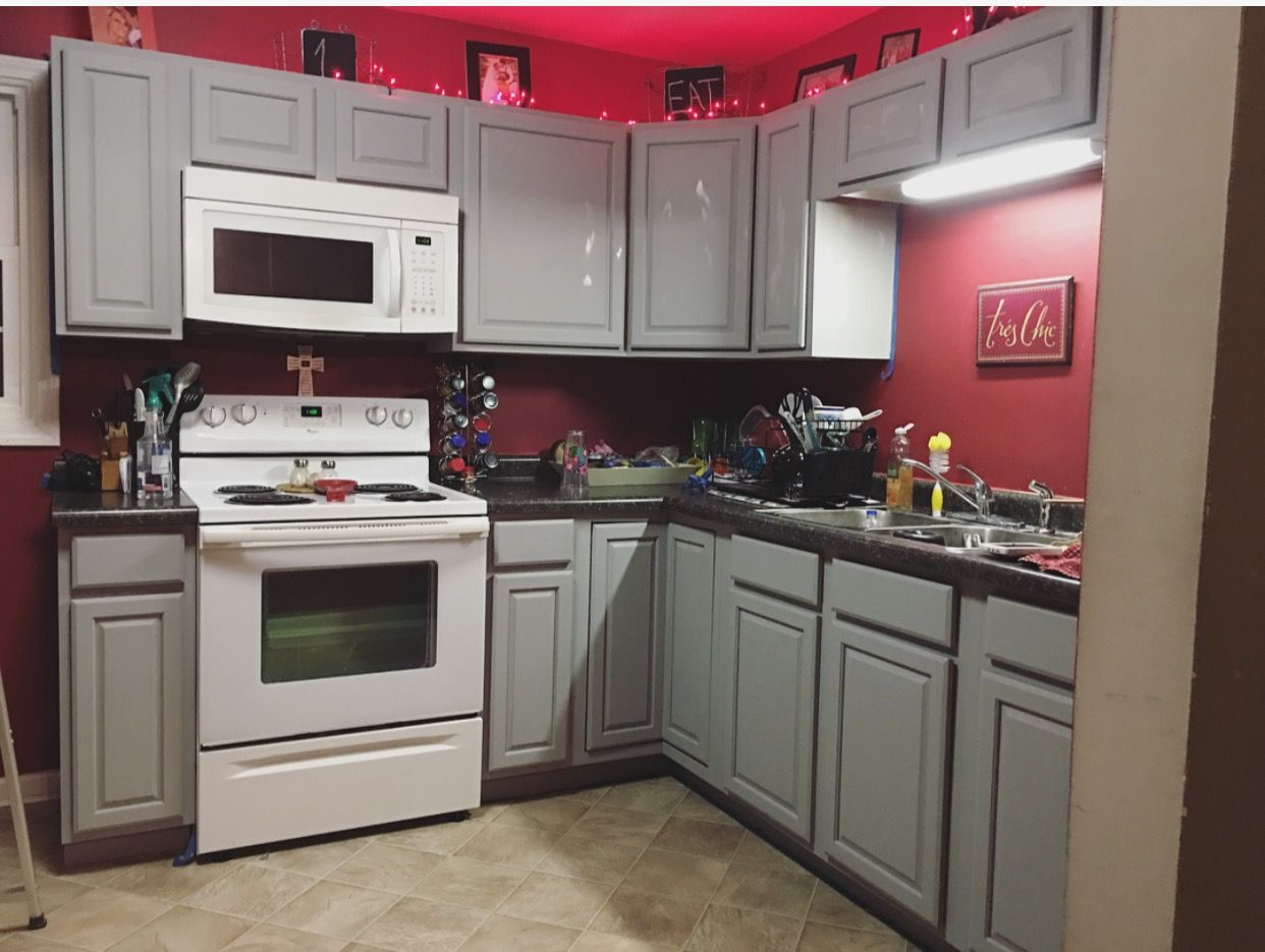 Red Colour Wall: Gray Kitchen Cabinets With Red Walls