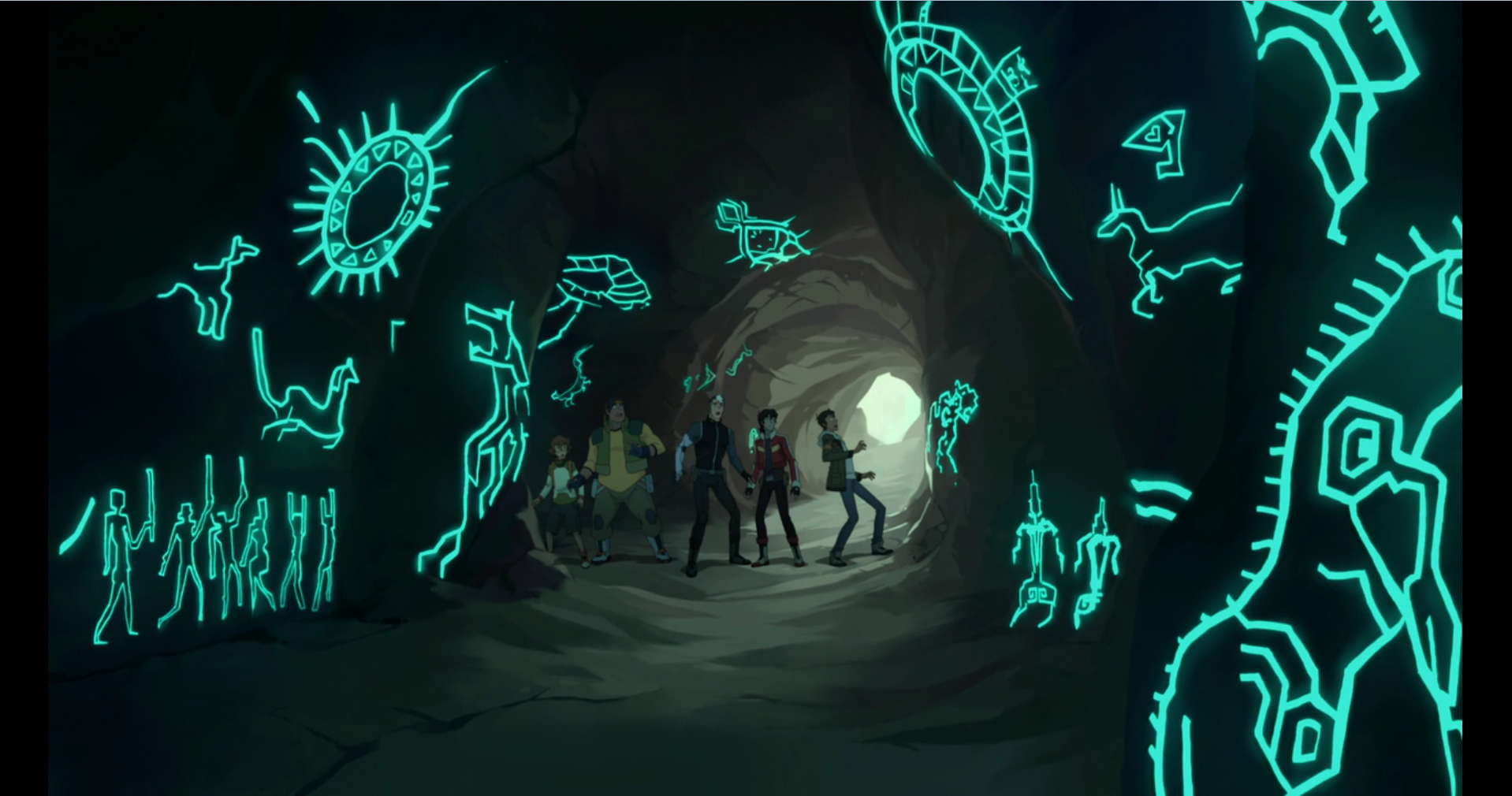 shiro keith lance pidge and hunk in the ancient cave of the blue