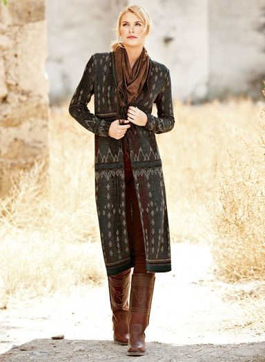 6f8b07c51 Lampas Baby Alpaca Sweater-Coat by Peruvian Connection - jacquard ...
