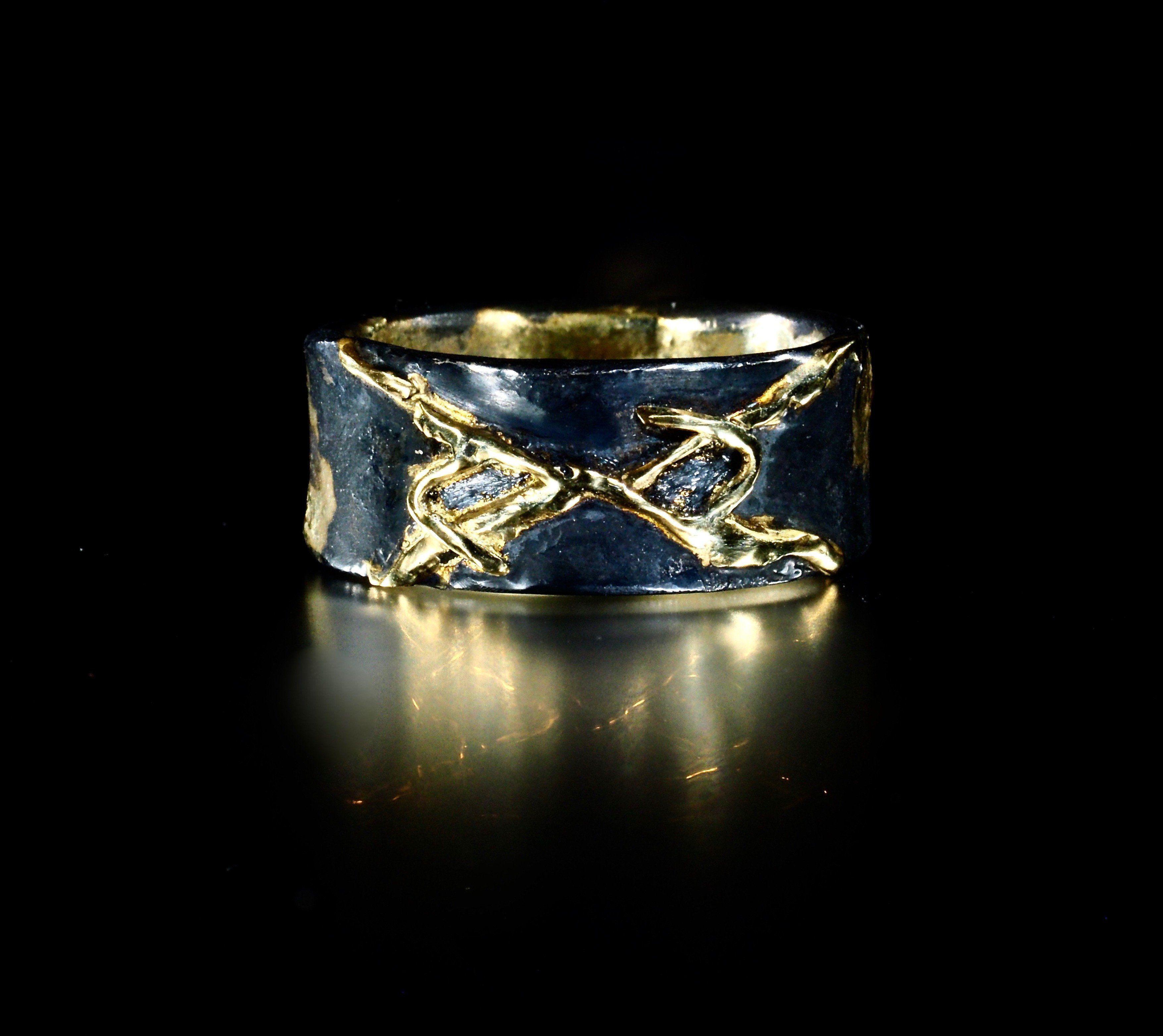Viking Rune Wedding Band Ring Rustic Ring Celtic wedding