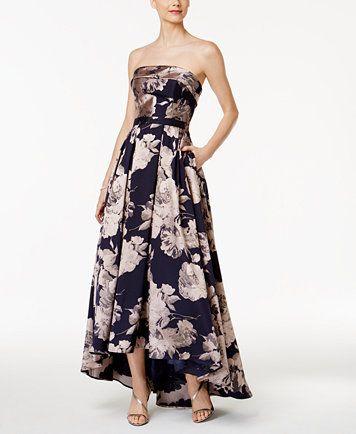 593ce349 Xscape Floral-Print Brocade Strapless Gown | macys.com | Wardrobe ...