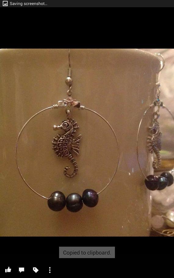 Seahorse hoop earrings with three blue fresh water by BentOnMaui