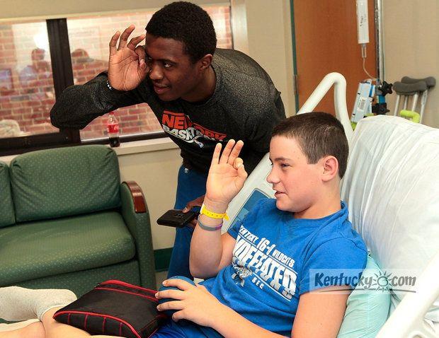 Photos: Doron Lamb visits patients at Kentucky Children's Hospital