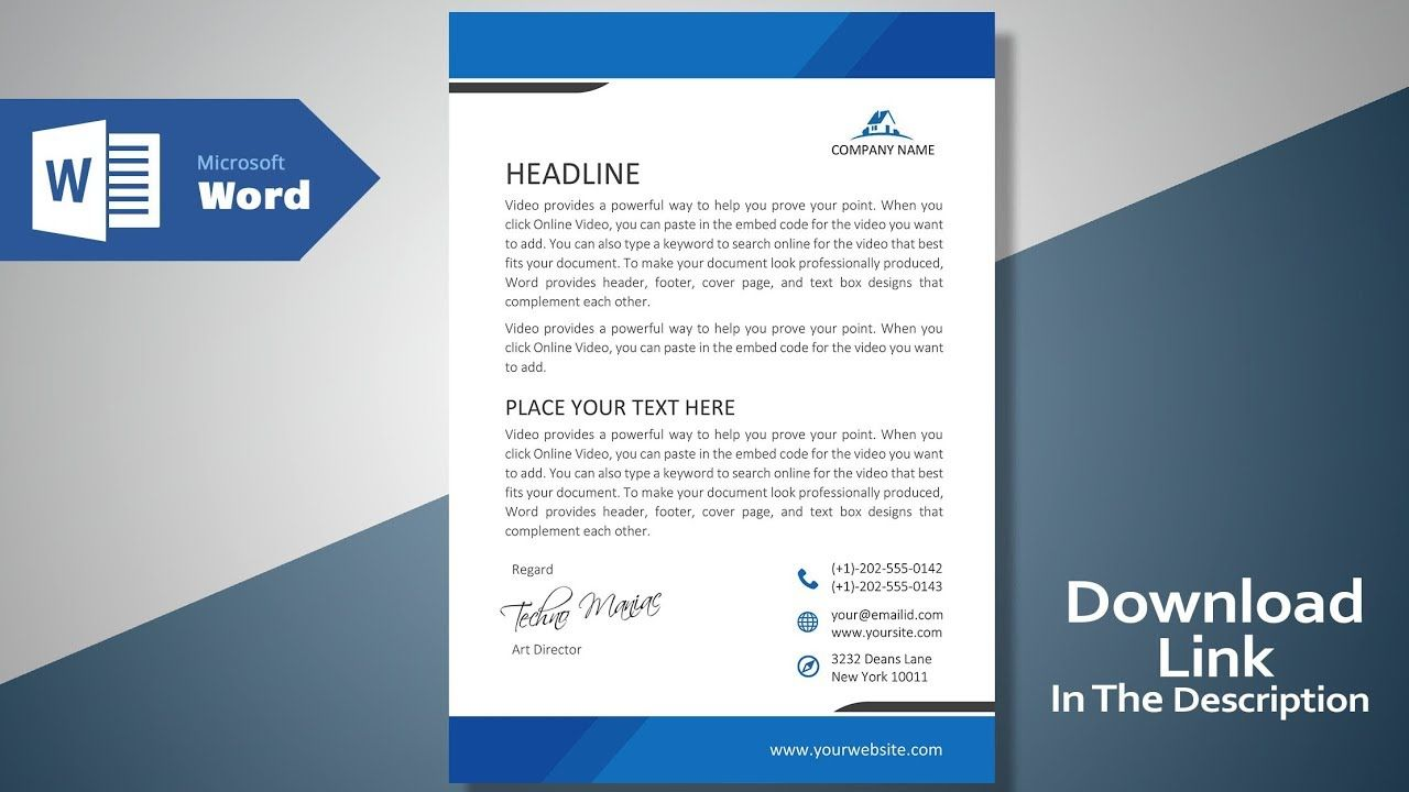 Create A Modern Professional Letterhead Free Template Ms Word Letterhead Tutorial Versio Free Letterhead Templates Letter Template Word Letterhead Template