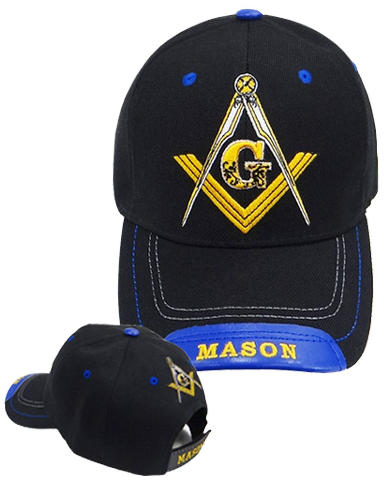 c26b7071 Mason Hat Black and Blue Baseball Cap with Masonic Logo Freemasons Shriners  Prince Hall Lodge Headwear
