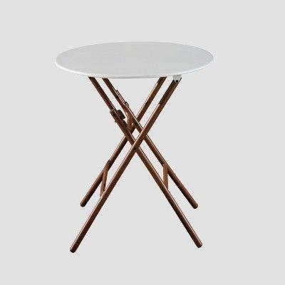 French Café Folding Patio Bistro Table White Brown 400 x 300