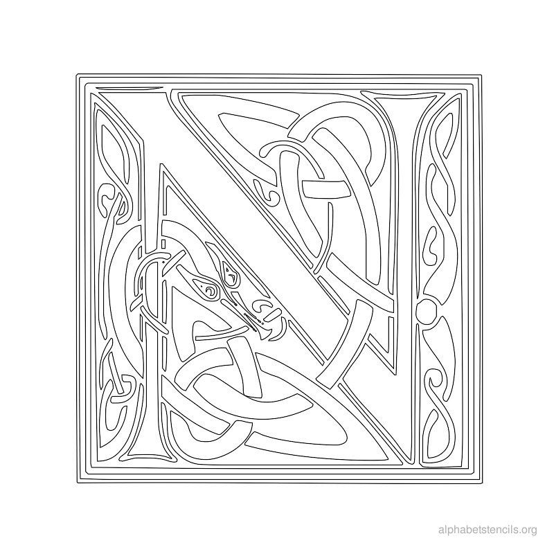 photo about Printable Celtic Stencils identify Celtic Letter Stencils Alphabet stencils celtic n wall