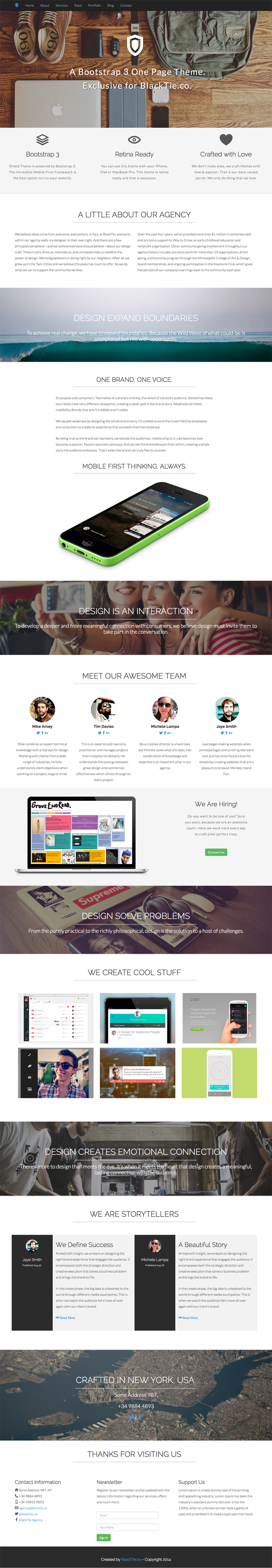 Black Tie – Free Handsome Bootstrap Themes – Shield – One Page Theme ...