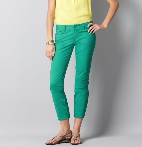 Modern Cropped Jeans- they fit so well and such a fun color! @LOFTSummerGetaway