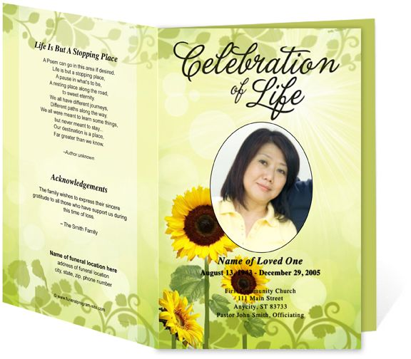 sunflower funeral program template in 2019