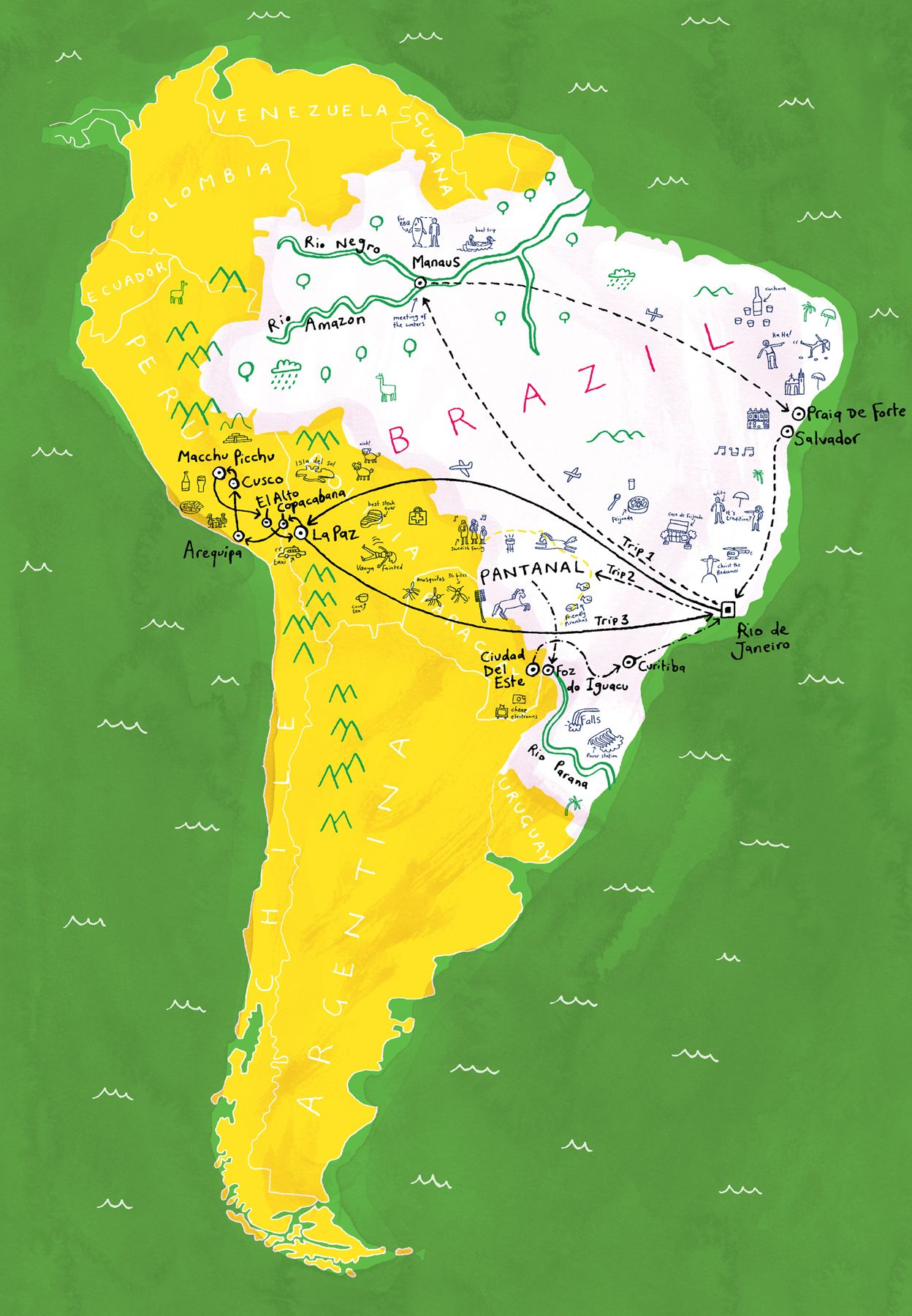 Dominic trevett map of brazil map travel illustration dominic trevett map of brazil gumiabroncs Image collections