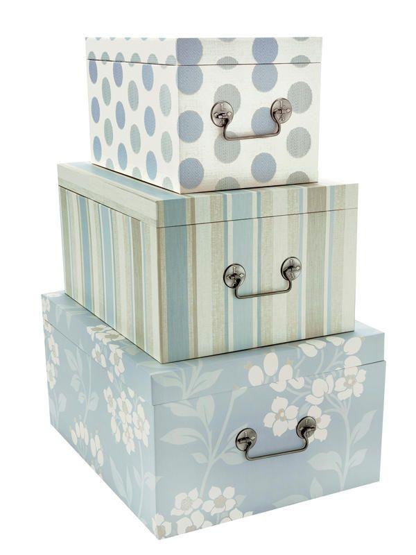 Zona de estudio en azul y verde cajas cajas decoradas y - Cajas de madera decorativas ...