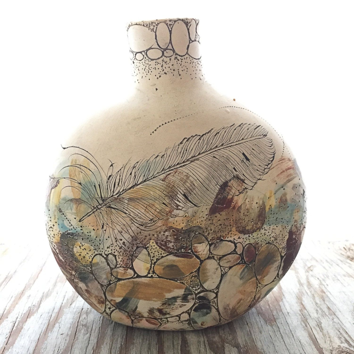 Landscape Stone Feather Canteen Vase Art Clay Pottery Classes Handmade Pottery