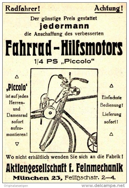 Original Werbung Anzeige 1929 Fahrrad Hilfsmotor Piccolo Ag