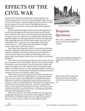 Worksheets Effects Of The Civil War Teaching Us History Teaching American History Teaching History