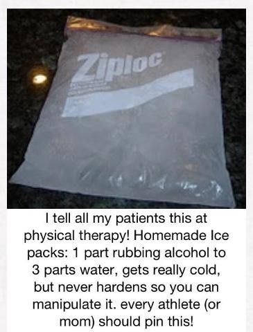 Make your own ice pack (for relieving pain)!  These don't harden when they freeze so they can be manipulated.