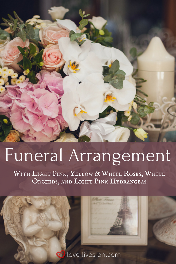 10 best funeral flowers funeral flower arrangements pinterest a stunning pink white themed funeral arrangement with light pink yellow white roses white orchids and light pink hydrangeas izmirmasajfo