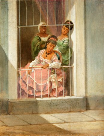 Cuban Art Víctor Patricio Landaluze Damas en la Ventana  (Ladies by the Window) Víctor Patricio Landaluze ca. 1860 oil on canvas 13 1/2 x 10 3/4 inches 04107