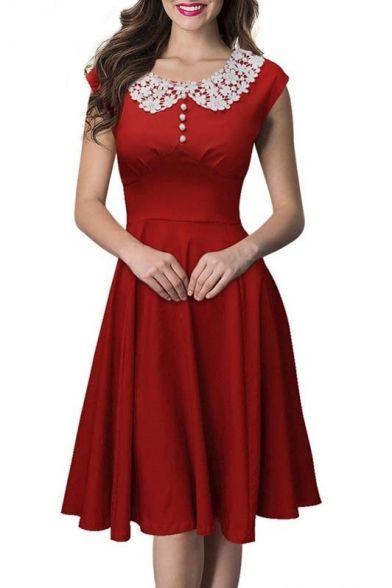 4f7f1d2be3a Vintage Swing Midi Dress-Women 1950s Vintage Knee Length Party Cocktail  Dress