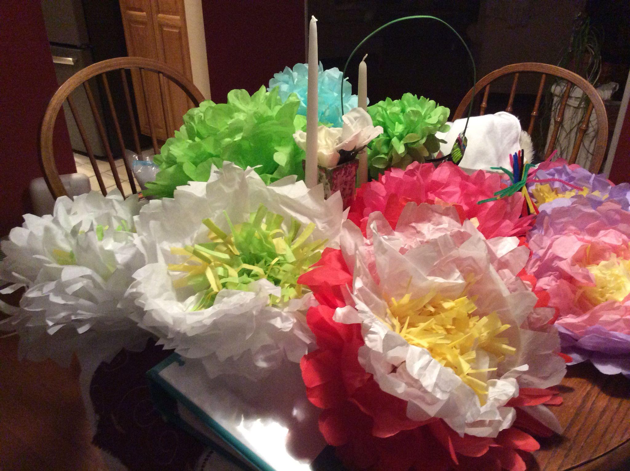 Spent this snowy spring break evening making tissue paper flowers