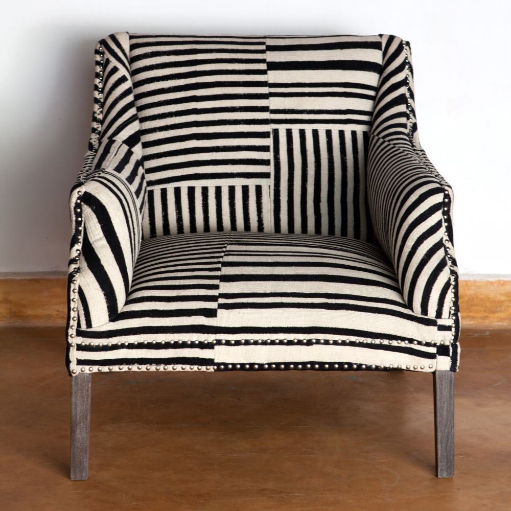 Bombay Studded Armchair Block Print Black White Tribe