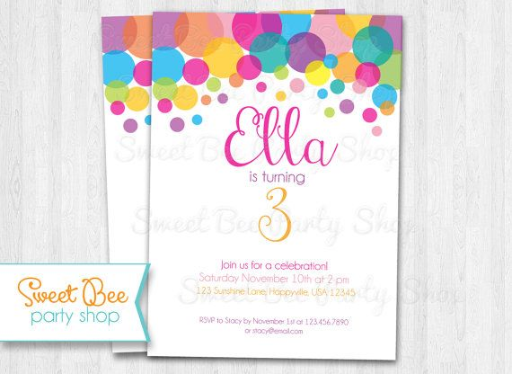 polka dot birthday invitation girl rainbow printable file