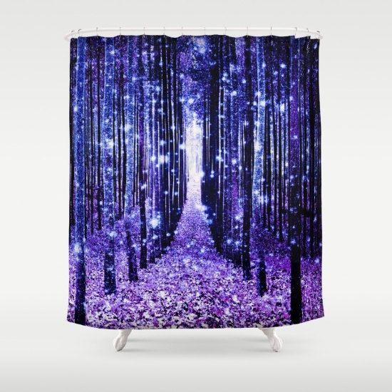 Shower Curtain Purple Blue Magical Fantasy Forest Bathroom Decor Enchanted