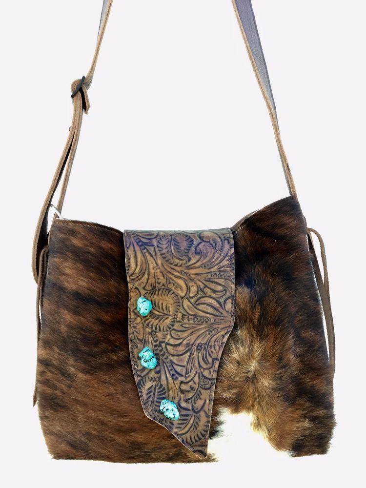 76e4f45a4 Distresed Cowhide Leather Handbag Cross Body Purse w/ Turquoise - K Bar J  FT6 | eBay