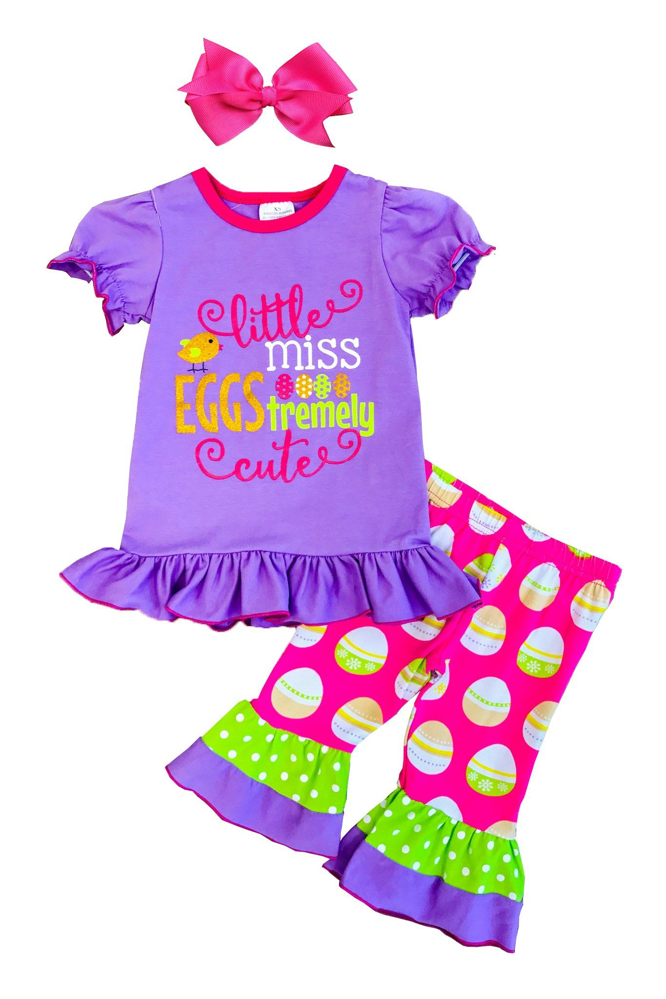 f248cd5202262 Girls Easter Polka Dots Capri Set