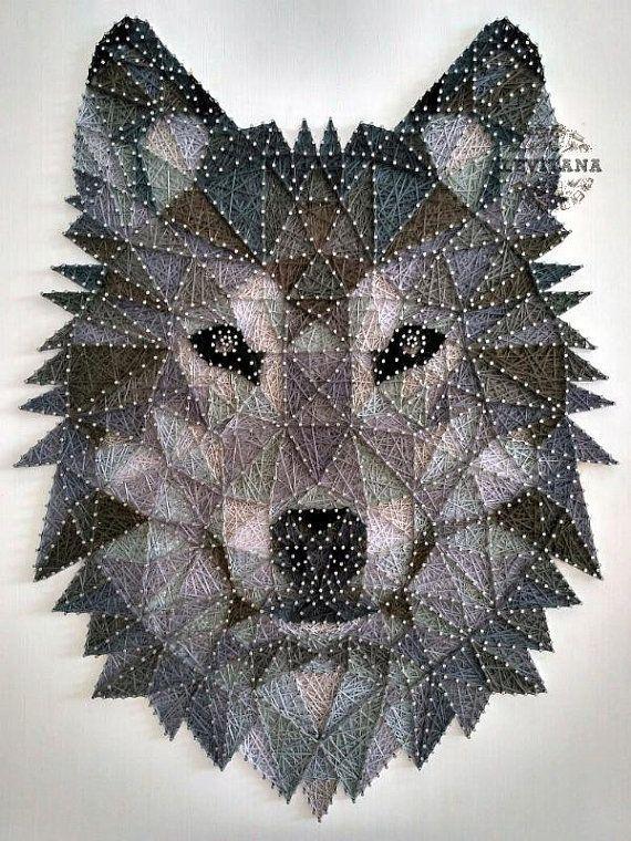 Schnurkunst Wolf Holz Wandkunst graue Töne Tiere Schnurkunst Löwe Wandkunst Thanksgiving Geschenk für sein Büro Dekor Geschenk für sie bereit zu versenden #graue #schnurkunst #thanksgiving #tiere #wandkunst #stringart
