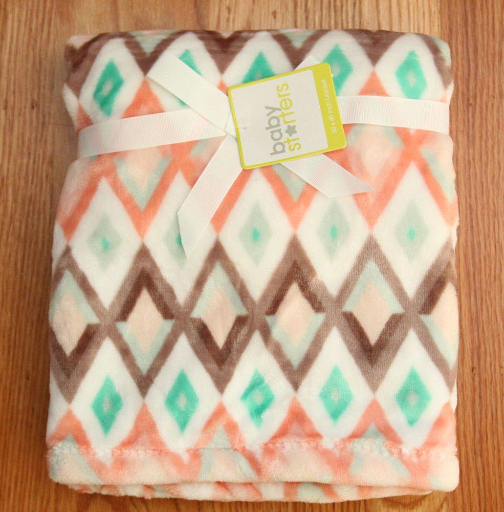 "Baby Starters Baby Girl Plush Blanket ~ White, Brown, Green & Apricot ~30"" x 40"" #BabyStarters BabyGirl"