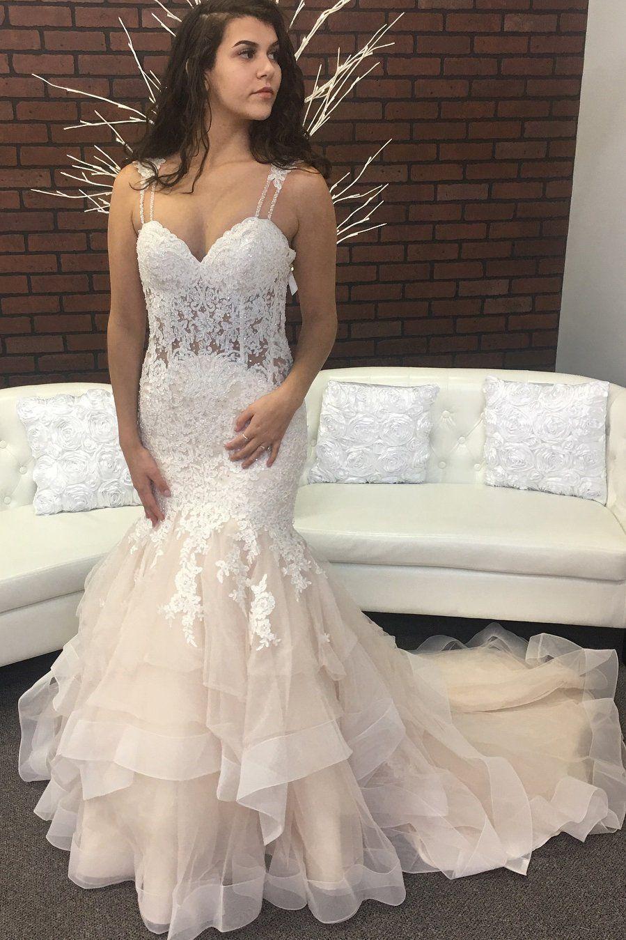 Einzigartige Ballkleider, Sexy Mermaid Tulle Sweetheart Lace Layered Champagner Brautkleider 2020 CoBridal