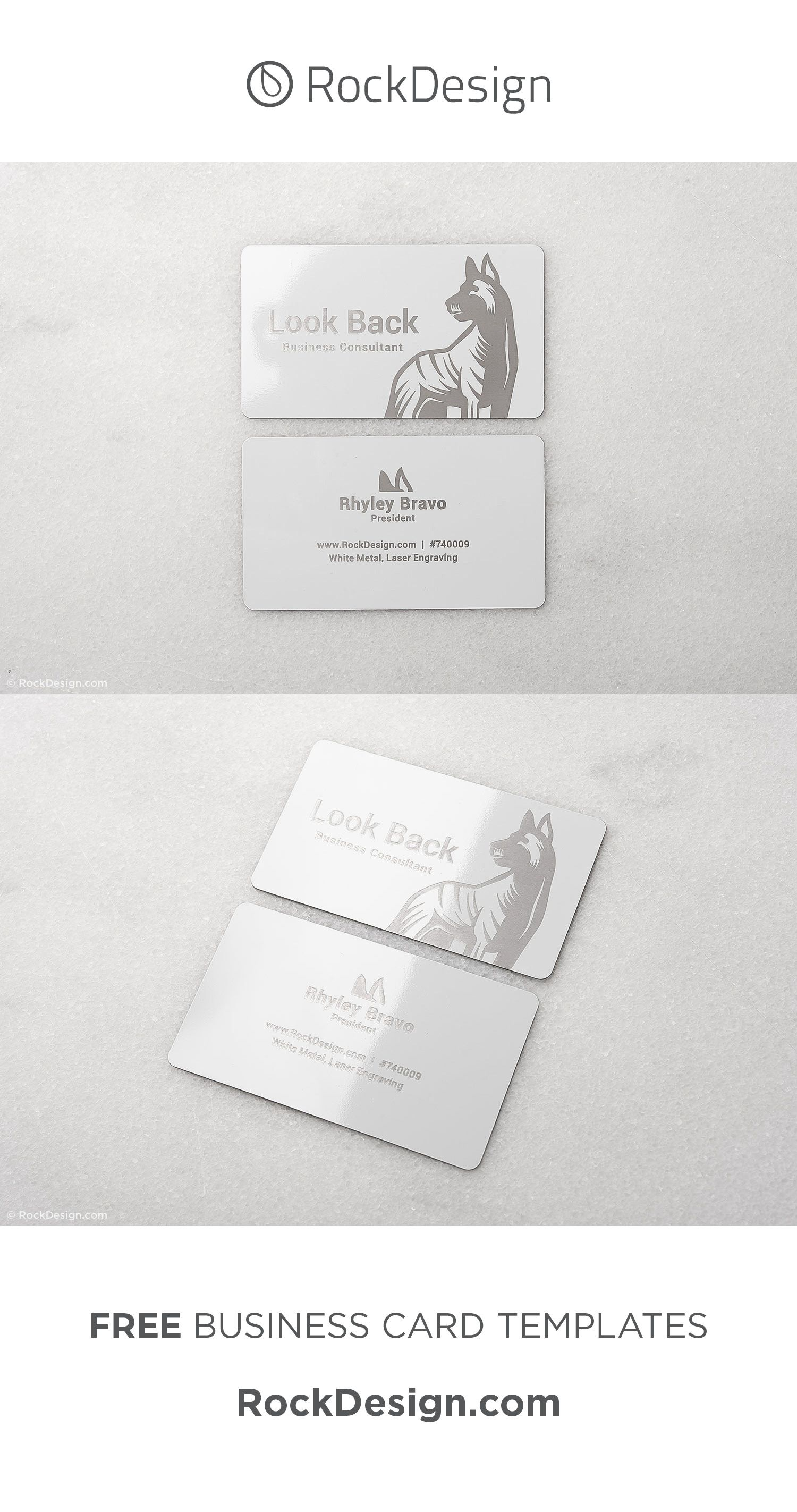 Sleek White Metal Business Consulting Free Template Look Back Metal Business Cards Free Business Card Templates High Quality Business Cards