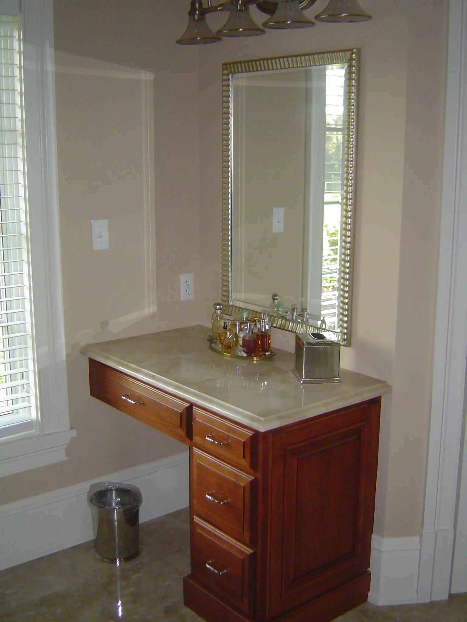 Custom Sinkless Vanity Stained Knee Drawer Custom Cabinetry Custom Cabinets Cabinetry