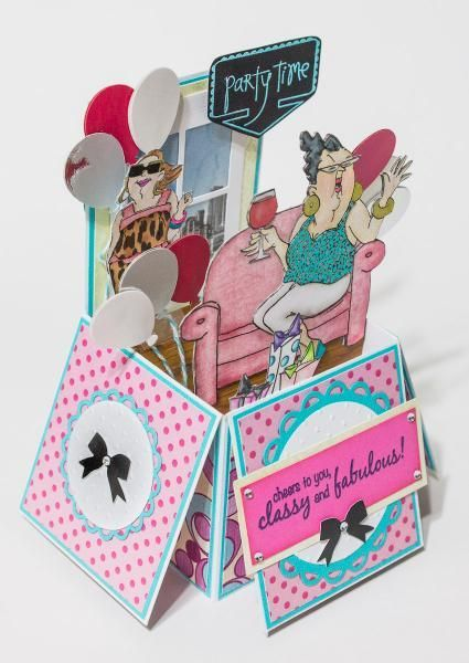 Art Impressions Ai People Celeste Set Girlfriends Uptown Girls Handmade Box Style Birthday Card