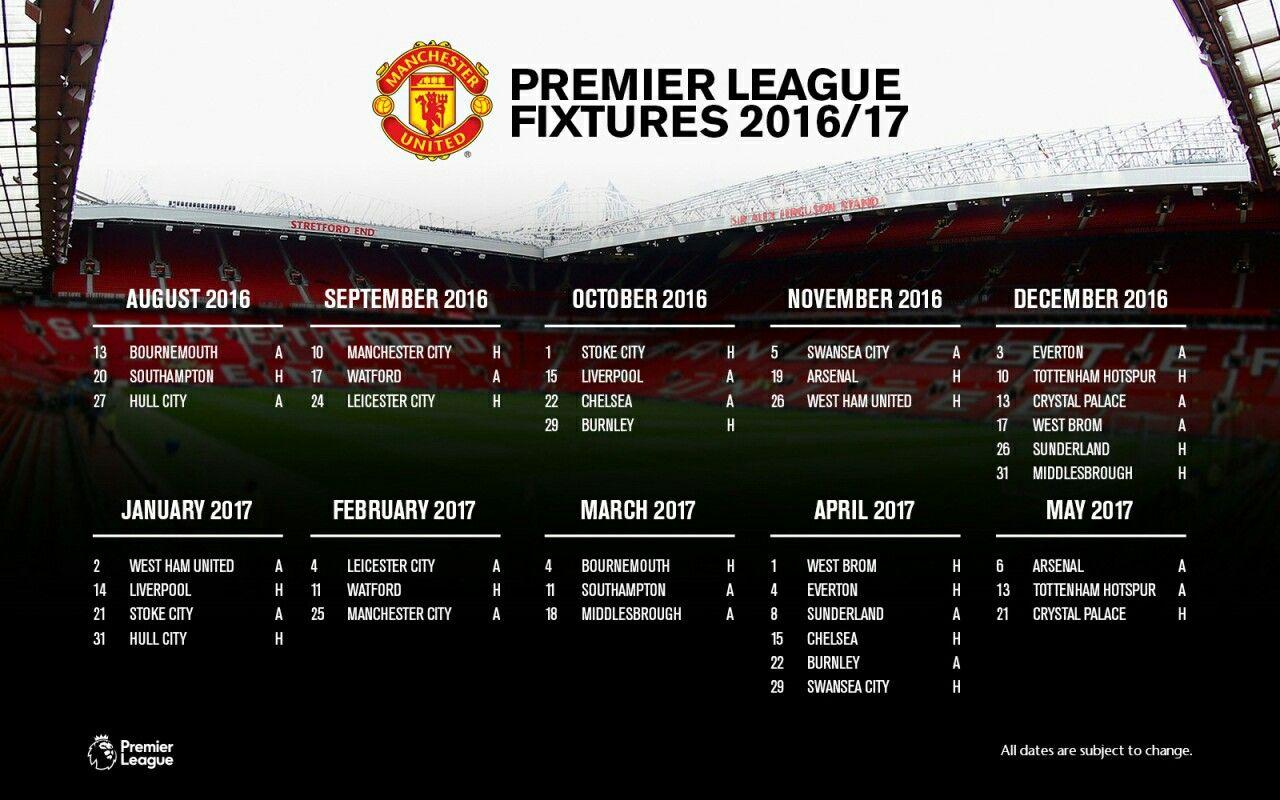 Mufc Premier League Fixtures 2016 2017 Manchester United Premier League Fixtures Manchester