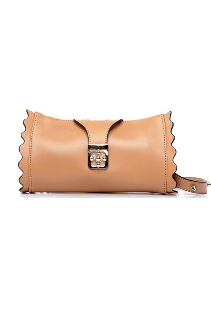 Scalloped Edge Cross Lock Shoulder Bag